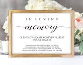 Printable In Loving Memory Wedding Sign 2 Sizes Wedding Reception Memorial Sign Loved Ones Sign Instant Download Bestseller Sign