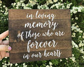 In Loving Memory Sign, In loving memory wedding sign, in loving memory, wood signs, wood in loving memory sign Elizabeth Collection