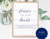 Navy Forever In Our Heart Sign Printable Elegant Loving Memory Sign Beautiful Custom Memorial Sign INSTANT DOWNLOAD