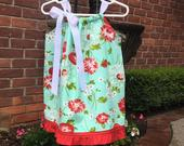 Blue and Red Daisy Dress by Cheryls Bowtique / Cottage Collection, kids, girl, pillowcase, clothing, flower