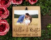 Engagement Picture Frame Personalized Engagement Gift for Couple, Engagement Personalized Gift Wooden Photo Frame, Newly Engaged Couple Gift