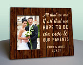 Parent Wedding Gift Personalized Picture Frame Rustic Wood Photo Frame Personalized In Law Gift Parents Thank You Gift Wood Gift
