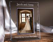 Wedding Picture Frame Personalized Engraved Glass Photo Frame Customized Gift for Couples Engagement 4x6 5x7 vertical or horizontal Pic 319