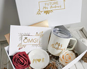 Fall Engagement Gift Box Fall Engagement Gift Future Mrs Insulated Coffee Mug Mrs Ring Dish Future Mrs Gift Engagement Gift for Her