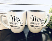 Mr and Mrs Mugs, Newlywed, Bride and Groom Coffee, Wedding gifts, Couples, Bridal party, Travel, Shower, Custom, Personalized, Bridesmaid