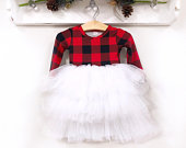 PREORDER: Buffalo Plaid Christmas Dress Fluffy Twirl Dress Personalized Girl Christmas Outfit Red Black Plaid Toddler Dress Sizes NB10