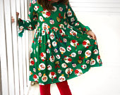 Girls holiday dress, Christmas dress, long sleeve Grinch dress, Ready to Ship, 12 18 2 3 4 5 6