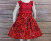 Red Christmas Dress, Plaid Christmas Dress, Girls, Poinsettia, Gold, Party, Fancy, Clothing, Boutique, Sleeveless, Toddler, Teen, Big Girl