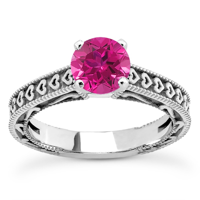 Pink Sapphire Engraved Hearts Ring, 14K White Gold