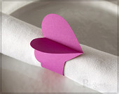 Pink Heart Table Decoration, Fuchsia Pink Heart Paper Napkin Rings, Set of 10 Napkin Holder, Heart Party Supply, Table decor, Fuchsia HT12