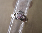 vintage sterling silver and pink heart ring Irish, claddagh, size 6.75, FREE SHIPPING