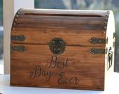 Best Day Ever Wedding Card Box, rustic wedding card box, country reception decor, shabby chic memory chest