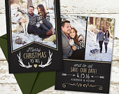 Holiday Photo Save the Date Card Say Merry Christmas and Save the Date Wedding Save the Date Winter Save the Date