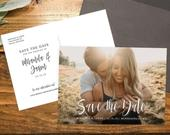 Save the Date with Photo Template Printable Save the Date Card Engagement Photo Save the Dates Templett Editable Save the Date with Pictures