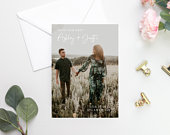 Photo Save The Date Template, DIY Save Our Date, Greenery Gold Save Date Card, Boho Save The Date, Instant Download, Editable in Templett