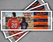 Broncos Football Wedding Save The Date Ticket Magnet / Sports Ticket Template With Jersey Photo / Orange and Navy / Any Team Colors
