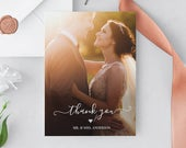 Wedding Photo Thank You Card, Custom Thank You Card Template, Folded Flat, 100% Editable, Instant Download, Templett, 5x7 030104TYC