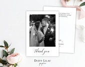 modern wedding thank you photo cards template, editable double sided minimalist wedding card with picture, DLP12