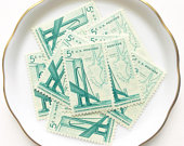 10 Unused Vintage Postage Mail Stamps US // VerrazanoNarrows Bridge // 5 cents // 1964 // No. 1258