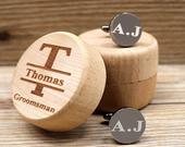 Personalized Cufflink Groomsmen Gift Cufflinks for Groom Wedding Gift For Father of the Groom Engraved Mens Cufflinks Box Gift for Husband