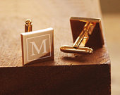 Engraved Rose Gold Cufflinks Personalized Groomsmen Cufflinks Square Monogramed Cufflinks