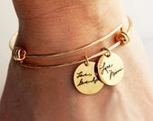 Handwriting Bracelet / Handwriting Jewelry / Actual Handwriting / Signature Bangle Bracelet / Memorial Gift, Personalized Charm Bracelet HWR