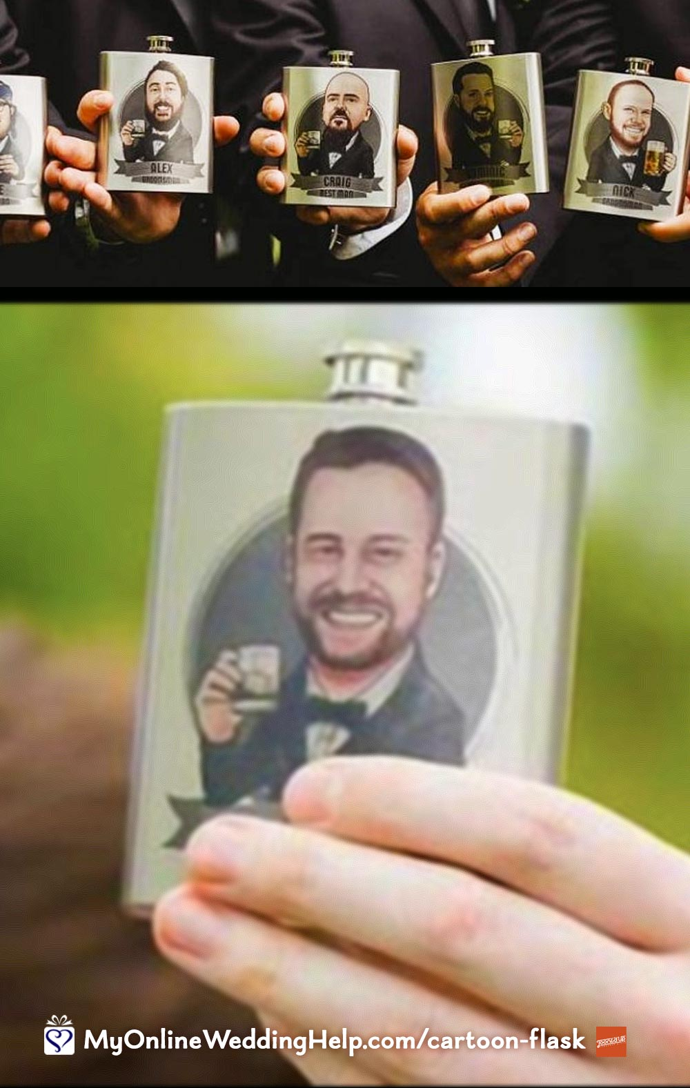Custom Cartoon Groomsmen Flasks. Stainless Steel.