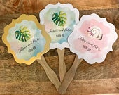 Personalized Wedding Fans Hand Paddle Fan Favors Tropical Beach Wedding Favors Out Door Wedding (Set of 12)