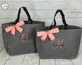 Personalized Bridesmaid Gift Tote Bag, Personalized Tote, Bridesmaids Gift, Monogrammed Tote, Set of 8, set of 6, set of 10 (ESS1) BS