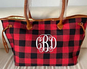 Monogrammed Buffalo Plaid Bag, Monogram Tote Bag ,Personalized Bag,Buffalo Check Overnight Travel Bag, Monogram Bags