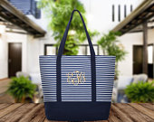 SALE Embroidered Stripe Canvas Tote, Bridal Gift Bag, Bridesmaids Gift Bag, Bridal Party Tote, Water Resistant Tote, Shopping Bag, Beach Bag