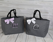 Personalized Cheer Dance Beach Bridesmaid Gift Tote Bag Personalized Tote Bridesmaids Gift Monogrammed Tote Gray Lilac Lavender (ESS1)