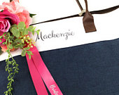 Bridal Party Personalized Tote Bag Bridesmaid Gifts Custom Printed Name and Wedding Color Ribbon Heather Navy Blue Brown Faux Leather Handle