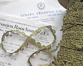 1 yd Vintage Antique French Medium Gold Metallic Lace Trim 7/16 Lampshade Pillow
