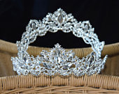 White Gold Tone Silver Princess Tiara Special Occasion Wedding Quince Sweet Sixteen Formal Dance Photography Gift