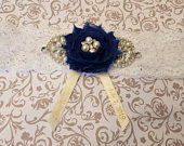 Personalized Satin Ribbon Blue and White Rhinestone Wedding Garter