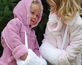 Girls Hand Muff / Child Hand Warmer White Faux Rabbit Fur with Satin Ribbon and Lining Ships Next Day