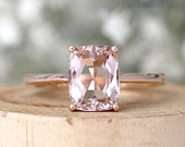 Vintage Style Engagement Ring Cushion Cut Natural VS Pink Morganite Engagement Ring Solid 14K Rose Gold Wedding Ring Promise Ring