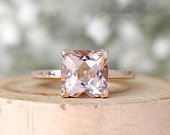 6mm Cushion Cut Natural Pink Morganite Engagement Ring Solid 14K Rose Gold Wedding Ring Promise Ring Anniversary