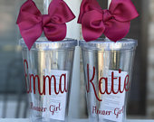 Personalized Tumbler with straw, Bridesmaid Gifts, Wedding Favors, Flower girl Proposal, Ring Barrier, Kids Tumbler, Personalized Cups