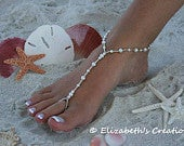 Barefoot Sandal Simply Elegant White Pearls and Silver Beads SET of FIVE with DISCOUNT Destination Wedding Bridal Shoes Beach Wedding