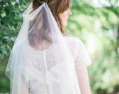 Draped veil, bohemian wedding veil, boho veil, heirloom wedding, drape bridal veil, English net soft veil, sizes, ivory white Style 816