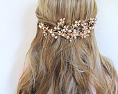 Gold Leaf Vine Boho Bridal Headpiece. Freshwater Pearl Flower Hair Piece. Nature Inspired Bohemian Hair Comb.