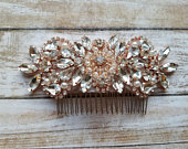 Wedding Hair Comb Rhinestoen Pearl Hair Comb with Rose Gold Accents Style H07707RG