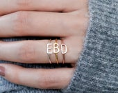Sideway Initial Ring Sterling Silver Ring Stacking Ring Custom Name Ring Personalized Gift Mother Gift Baby Name Rings RM09F39