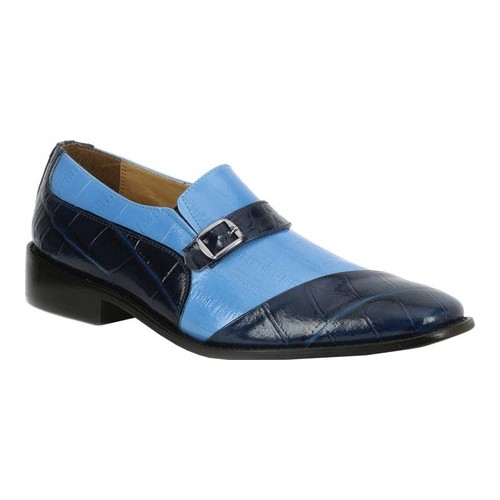 Men's Giorgio Brutini Haney Monkstrap, Size: 11.5 M, Navy/Blue Snake Print Synthetic