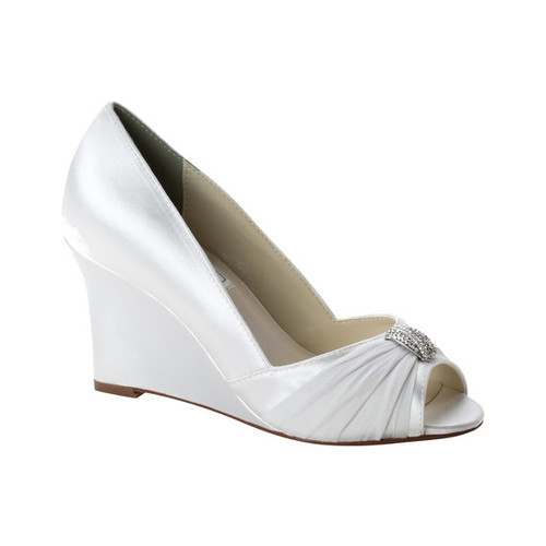 Women's Touch Ups Echo Wedge Pump, Size: 9 M, White Satin