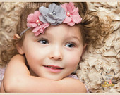 Gray Dusty Rose Pink Pearl Rhinestone Soft Chiffon Headband. Preemie Wedding Flower GIrl Rustic Wedding Chic