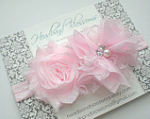 Beautiful Pale Pink Chiffon Flower Headband with Pearl Rhinestone Center Newborn Baby Flower Girl Photo Prop Wedding