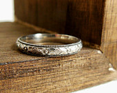 Personlized Ring, Secret Message Ring, Sterling Silver Ring Diamond Floral Stacking Ring Custom Silver Wedding Band